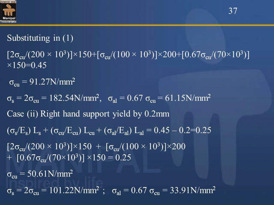 37 Substituting in (1) [2σcu/(200 × 103)]×150+[σcu/(100 × 103)]×200+[0.67σcu/(70×103)] ×150=0.45. σcu = 91.27N/mm2.